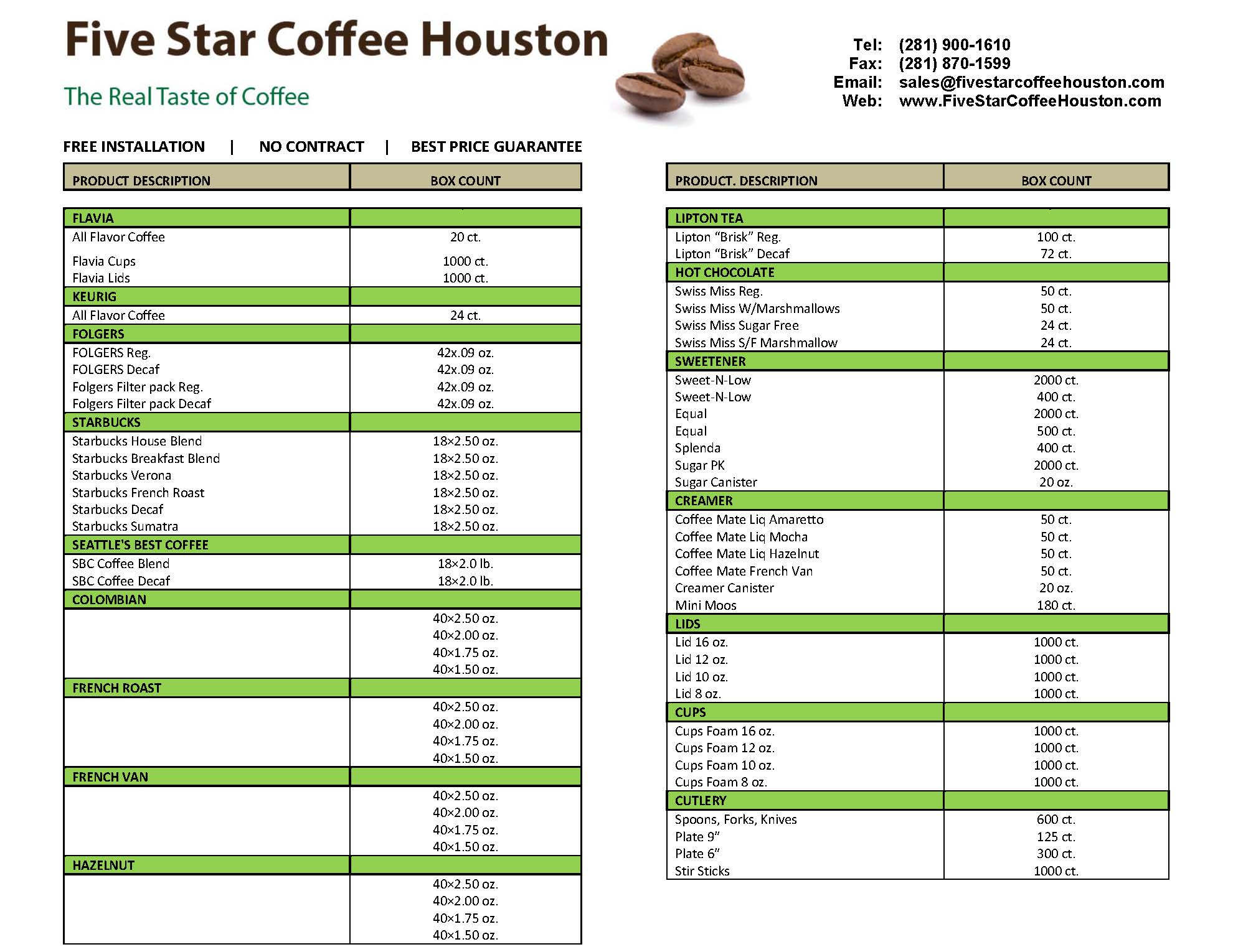 FIVE-STAR-COFFEE-HOUSTON-PRODUCT-LIST